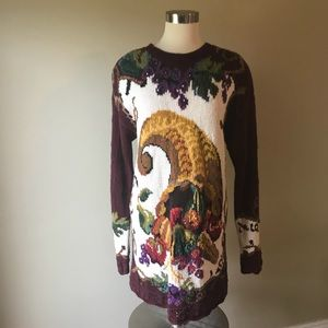 Vintage Hand Knit Cornucopia Fall Sweater Tunic